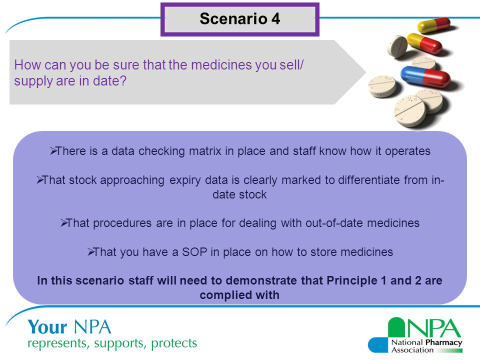 Scenario 4 How can you be sure that the medicines you sell/ supply are in date