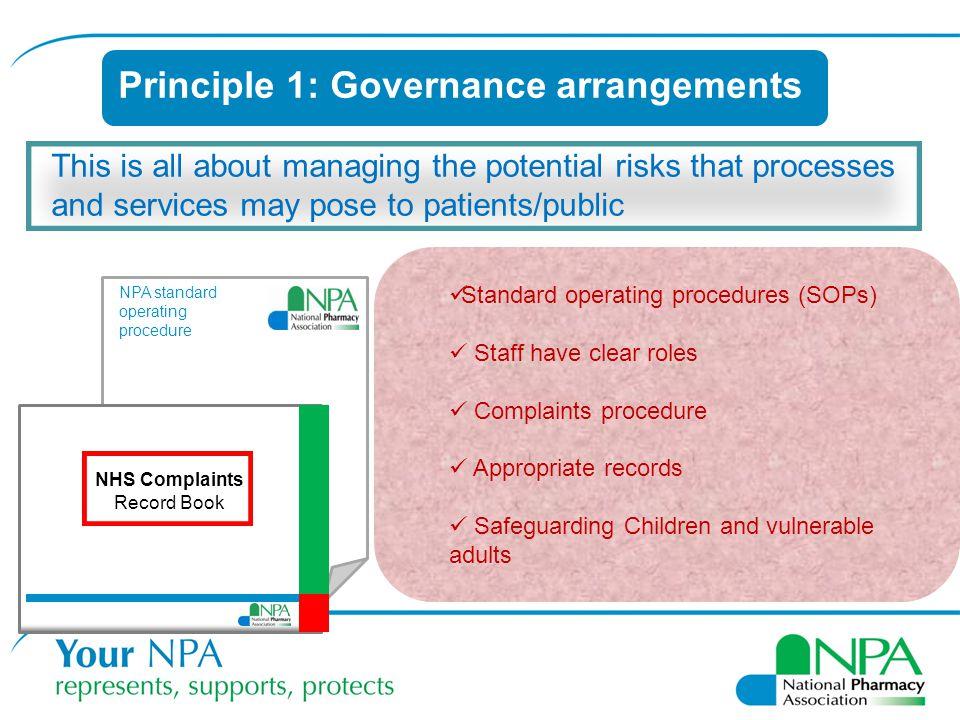 Principle 1: Governance arrangements