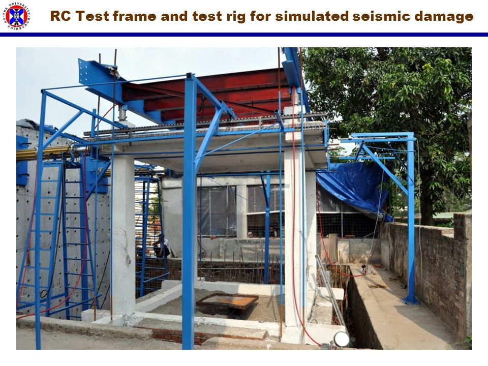 RC Test frame and test rig for simulated seismic damage