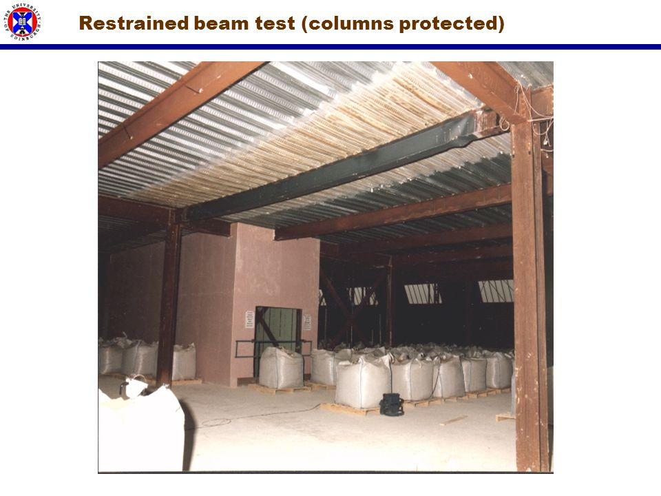 Restrained beam test (columns protected)