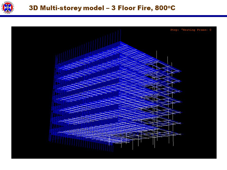 3D Multi-storey model – 3 Floor Fire, 800oC