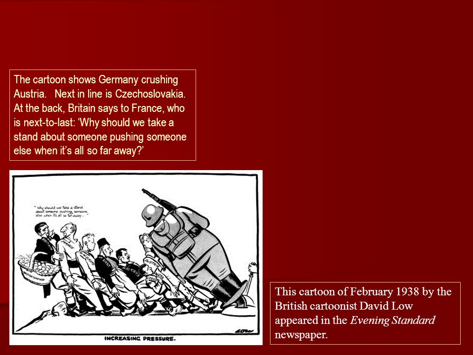 The cartoon shows Germany crushing Austria