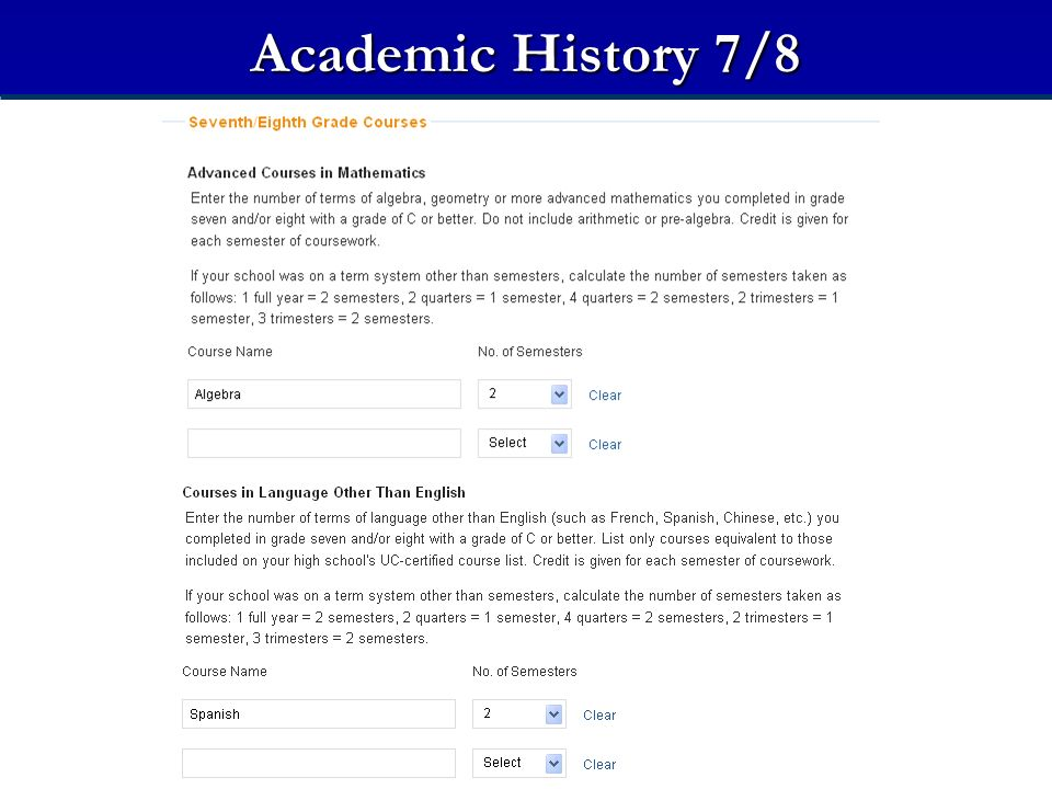 Academic History 7/8 Seventh/Eighth Grade