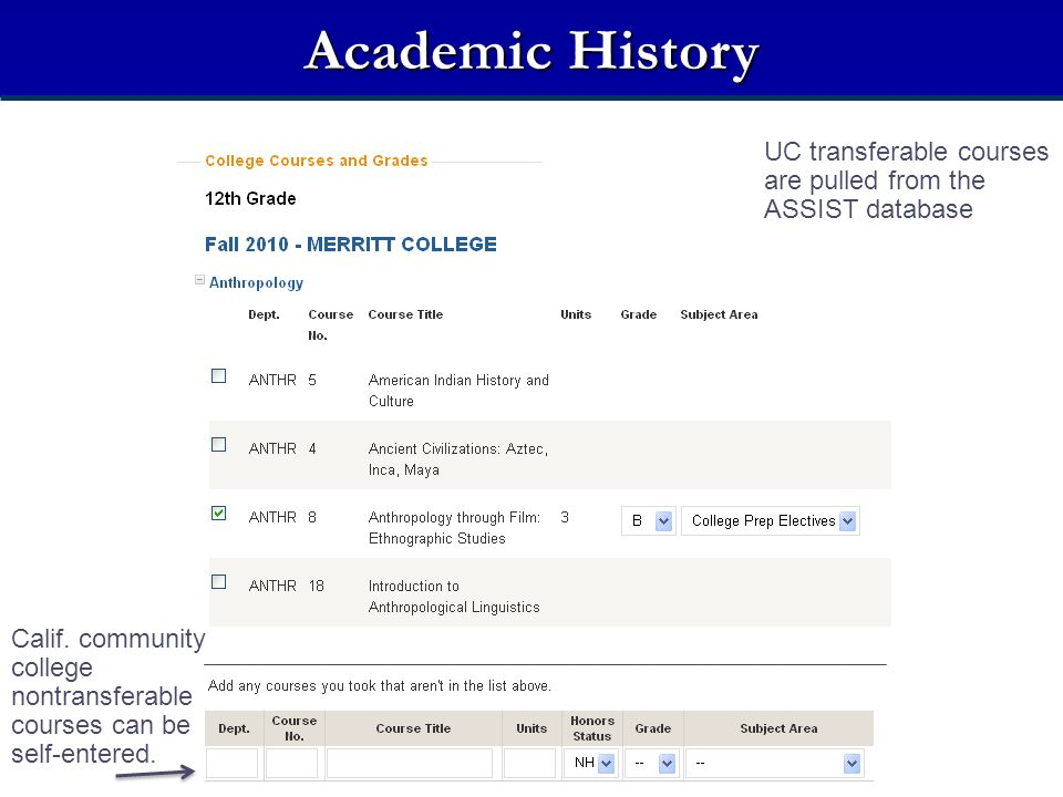 Academic History UC transferable courses are pulled from the ASSIST database. College Courses Taken While in High School.