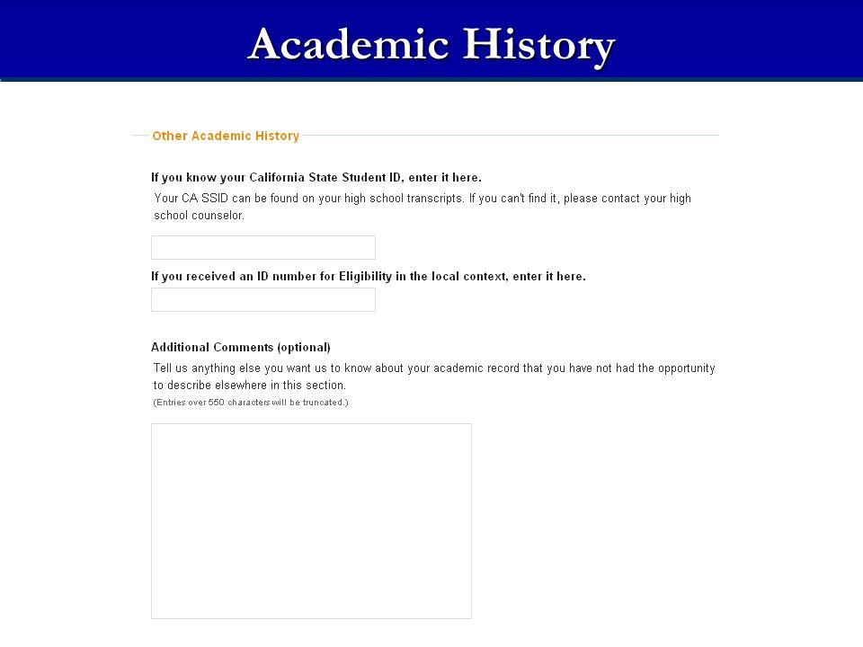 Academic History Academic History — Miscellaneous