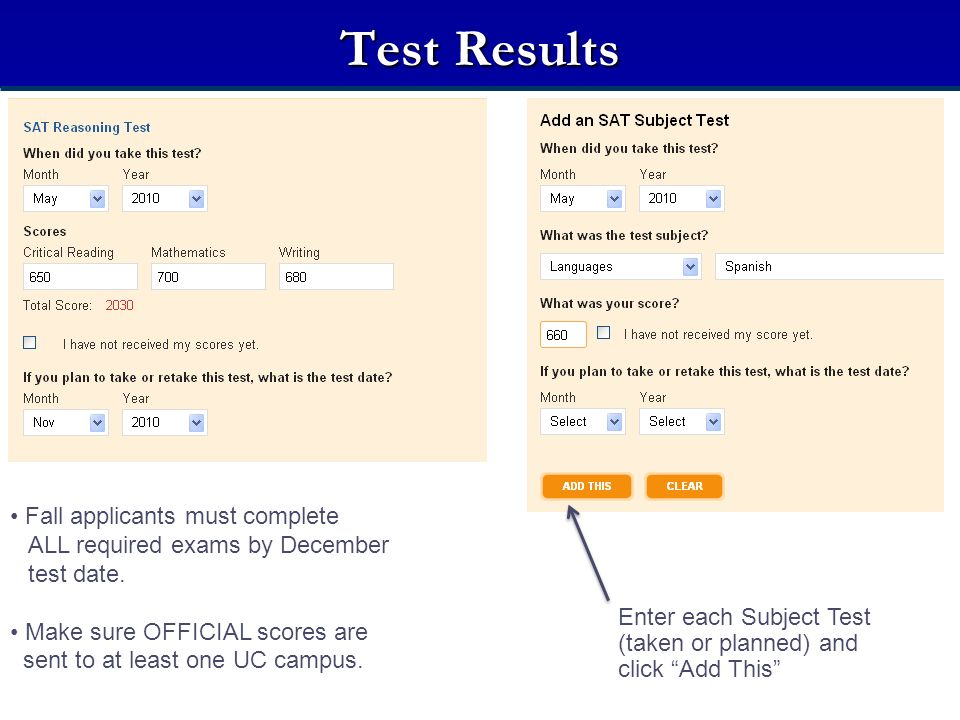 Test Results Fall applicants must complete ALL required exams by December test date. Make sure OFFICIAL scores are.