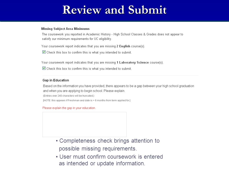 Review and Submit Completeness check brings attention to