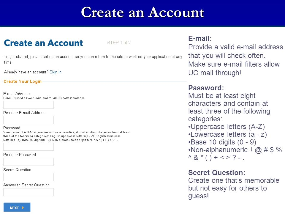 Create an Account E-mail: