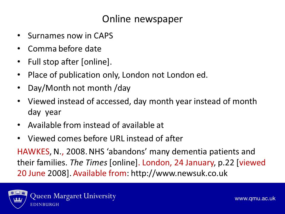 Online newspaper Surnames now in CAPS Comma before date