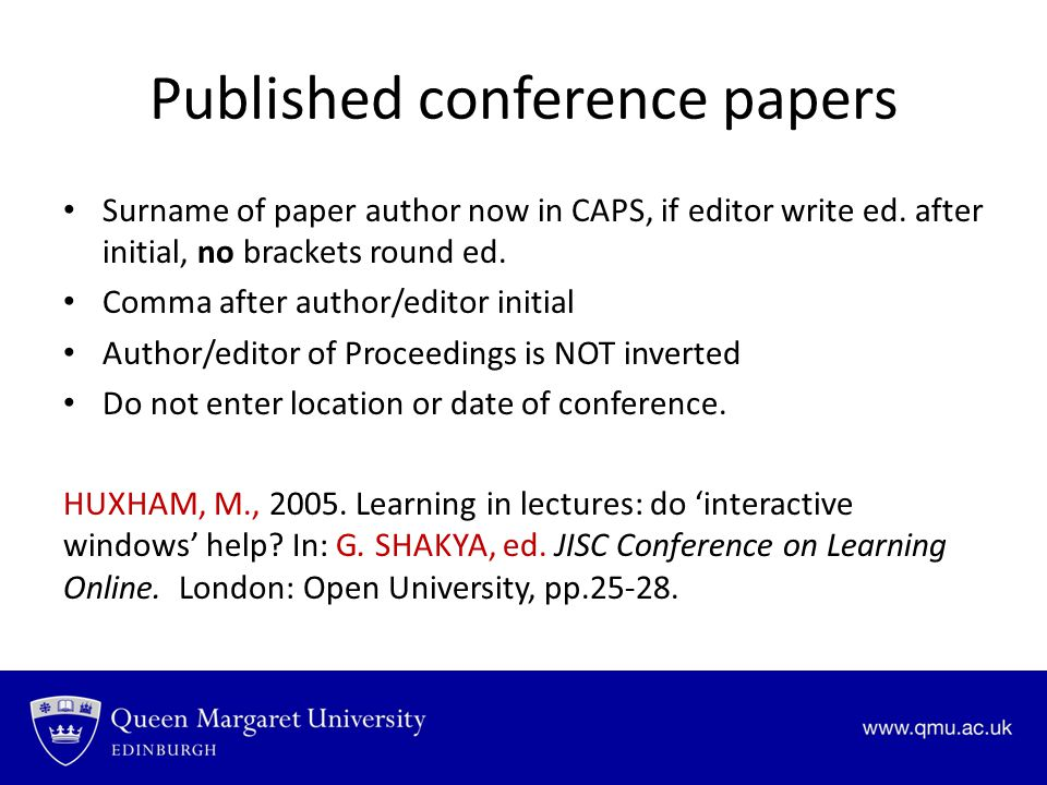 Published conference papers