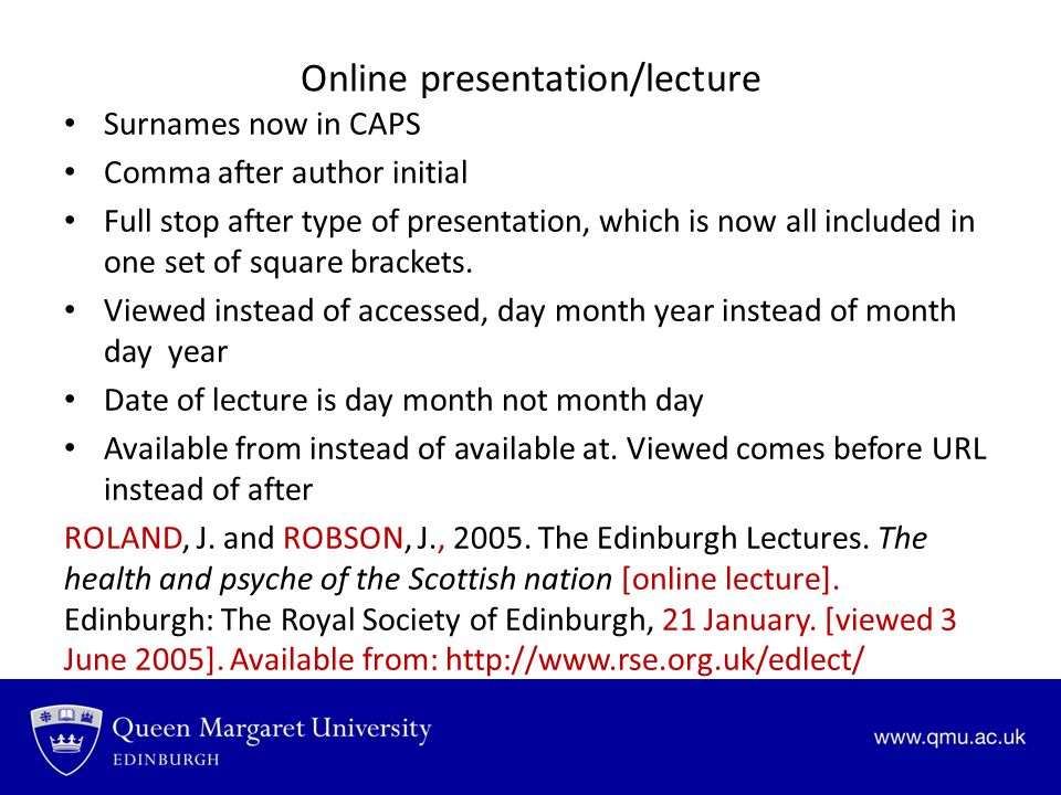 Online presentation/lecture