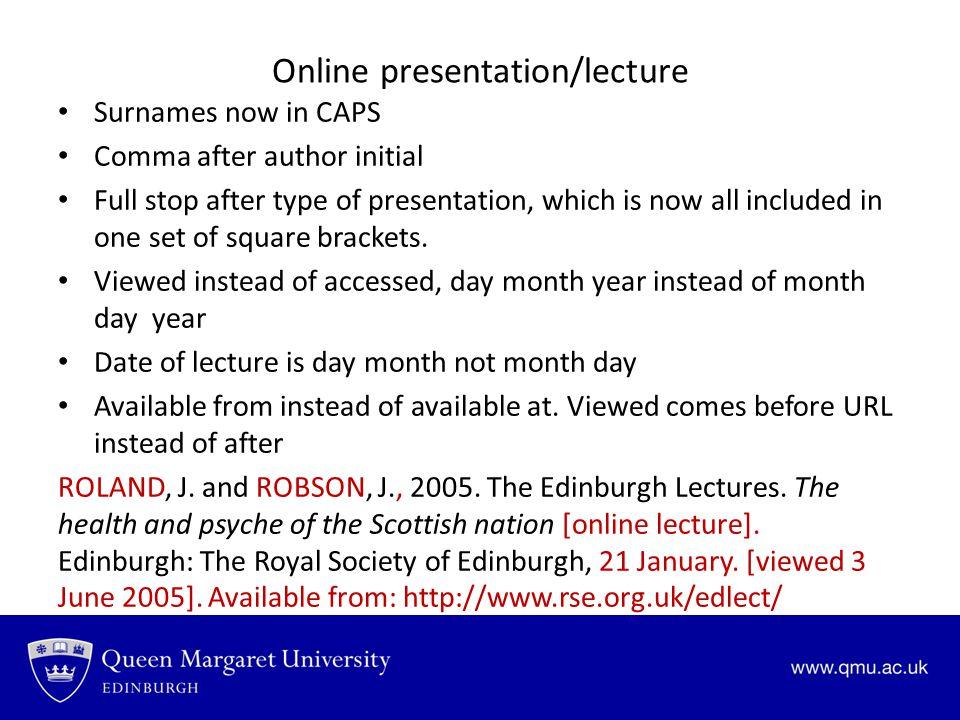 Online presentation/lecture