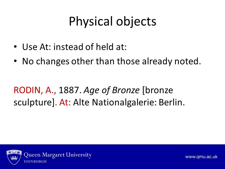 Physical objects Use At: instead of held at:
