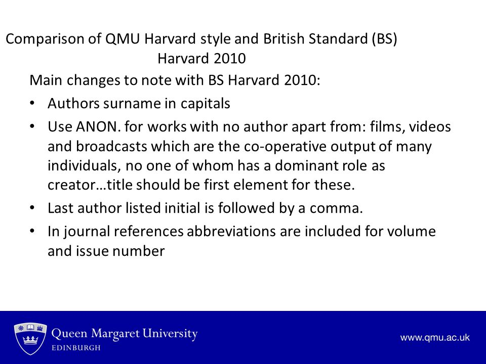 Comparison of QMU Harvard style and British Standard (BS) Harvard 2010