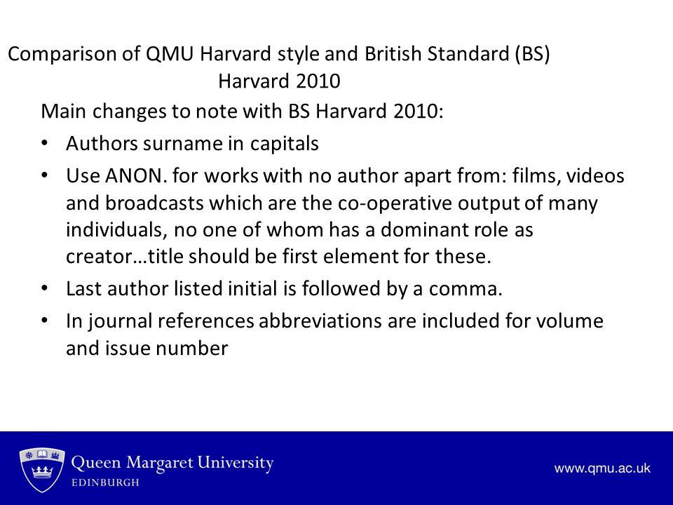 Comparison of QMU Harvard style and British Standard (BS) Harvard 2010