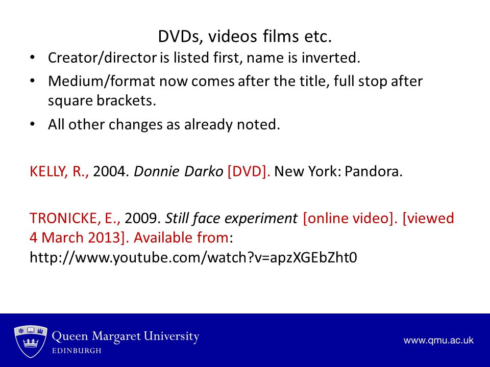 DVDs, videos films etc. Creator/director is listed first, name is inverted.