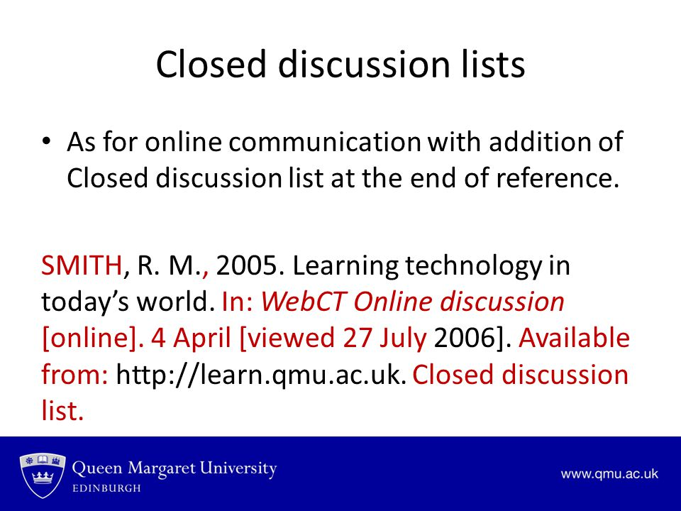 Closed discussion lists