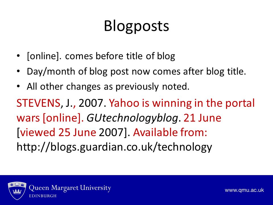 Blogposts [online]. comes before title of blog. Day/month of blog post now comes after blog title.