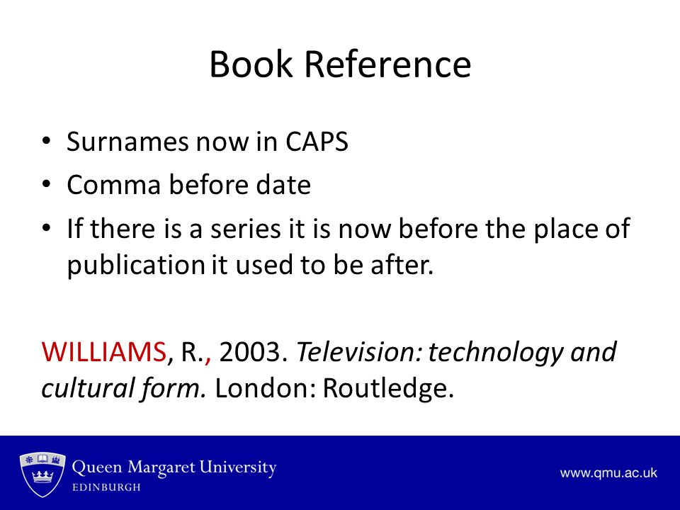 Book Reference Surnames now in CAPS Comma before date