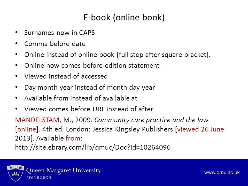 E-book (online book) Surnames now in CAPS Comma before date