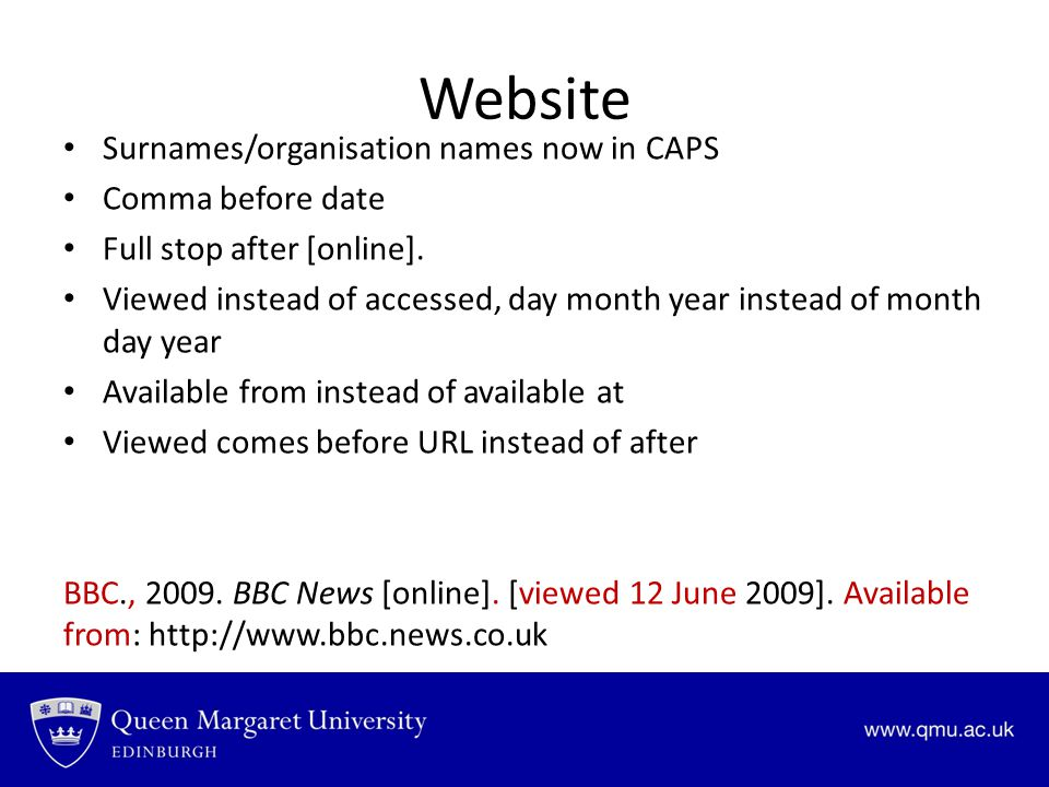 Website Surnames/organisation names now in CAPS Comma before date