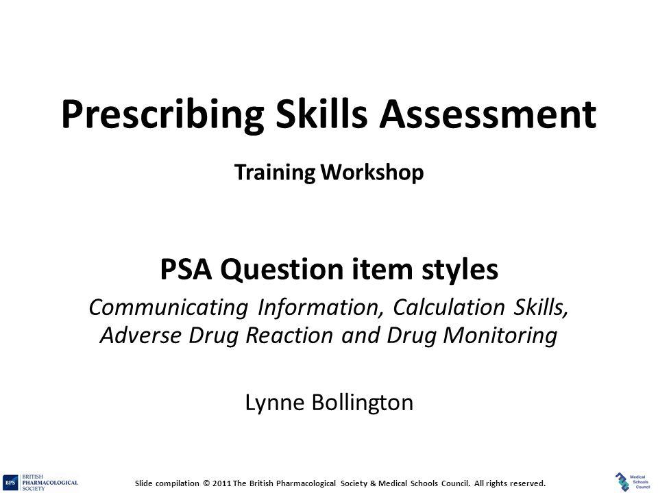 Prescribing Skills Assessment Training Workshop