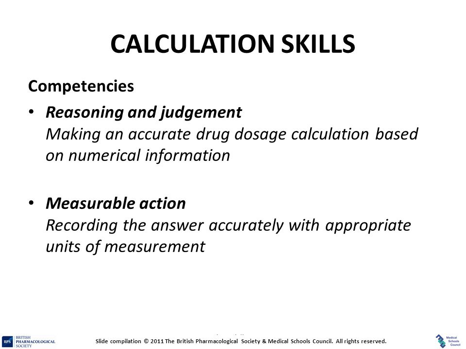CALCULATION SKILLS Competencies