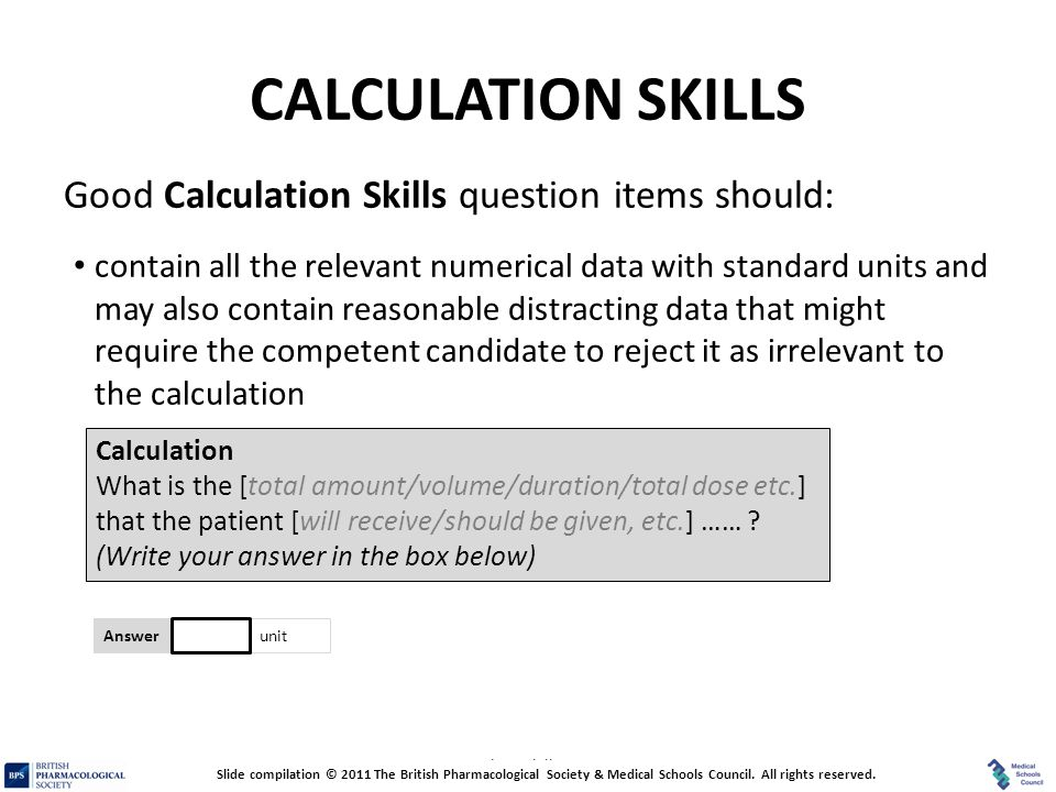 CALCULATION SKILLS Good Calculation Skills question items should: