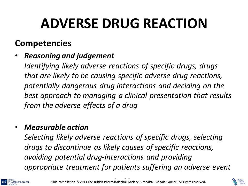 ADVERSE DRUG REACTION Competencies