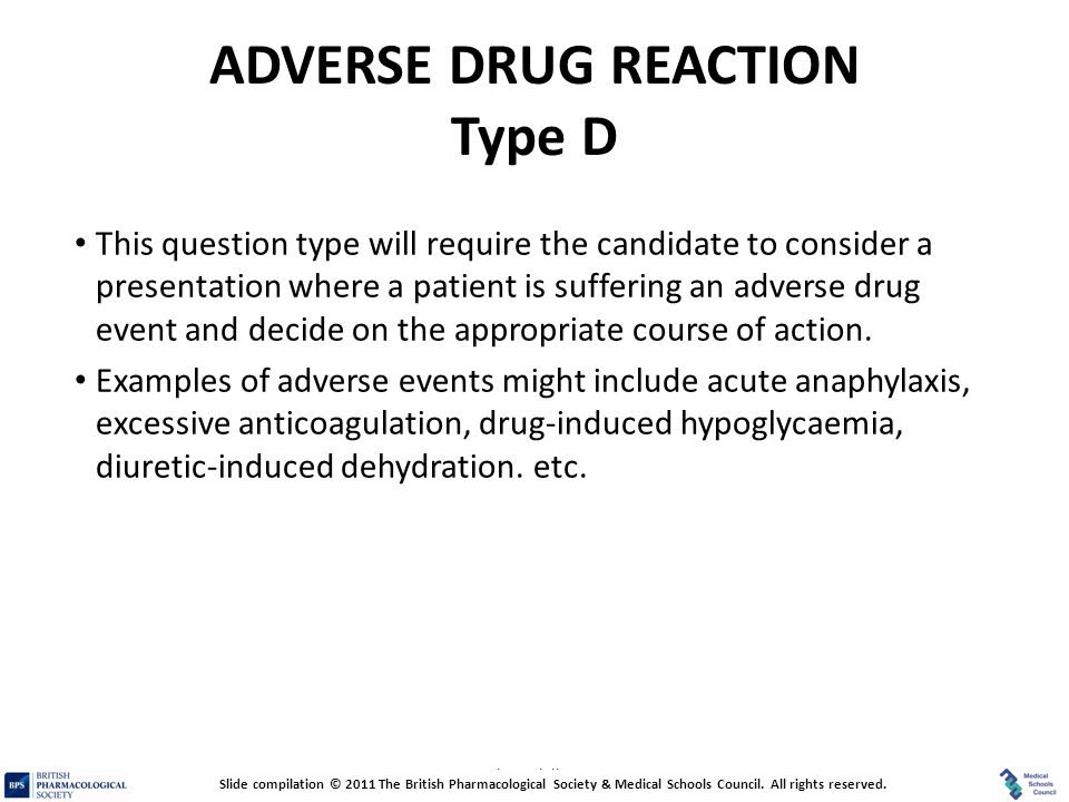 ADVERSE DRUG REACTION Type D