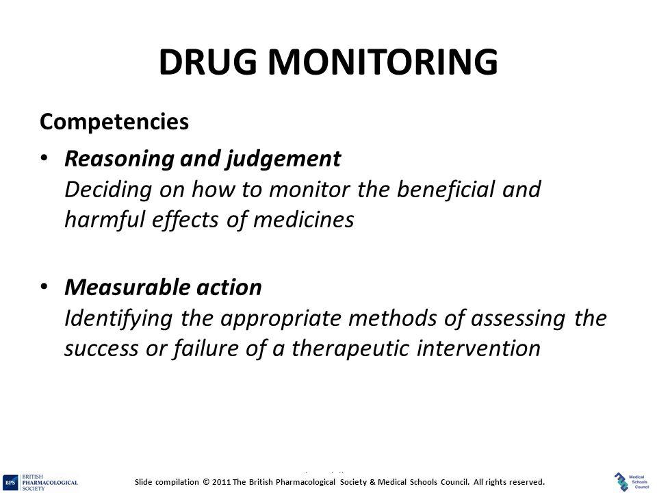 DRUG MONITORING Competencies