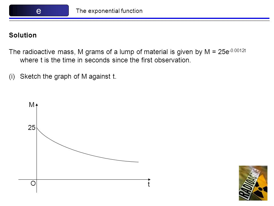 e The exponential function. Solution.