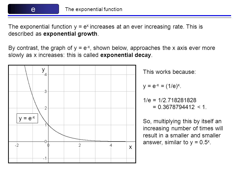 e The exponential function. The exponential function y = ex increases at an ever increasing rate. This is described as exponential growth.