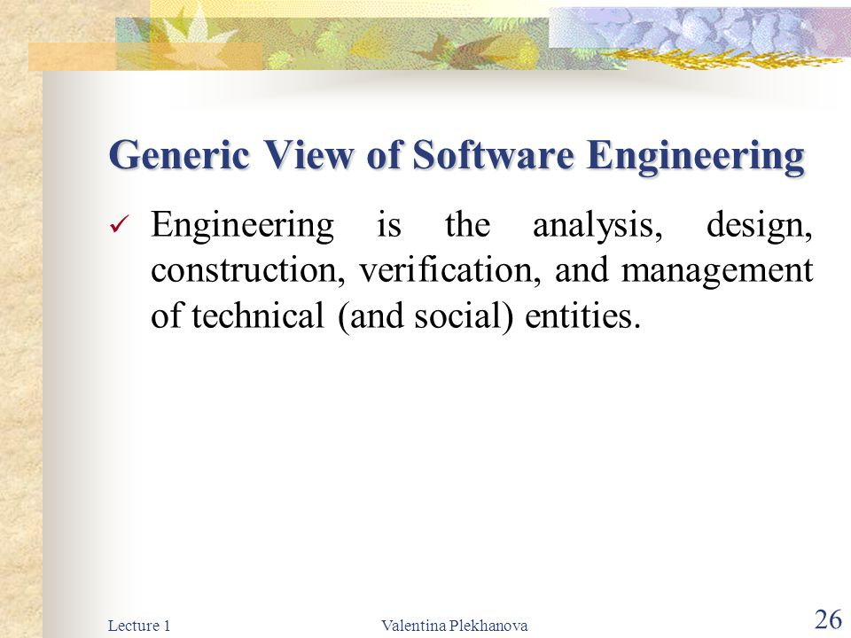 Generic View of Software Engineering