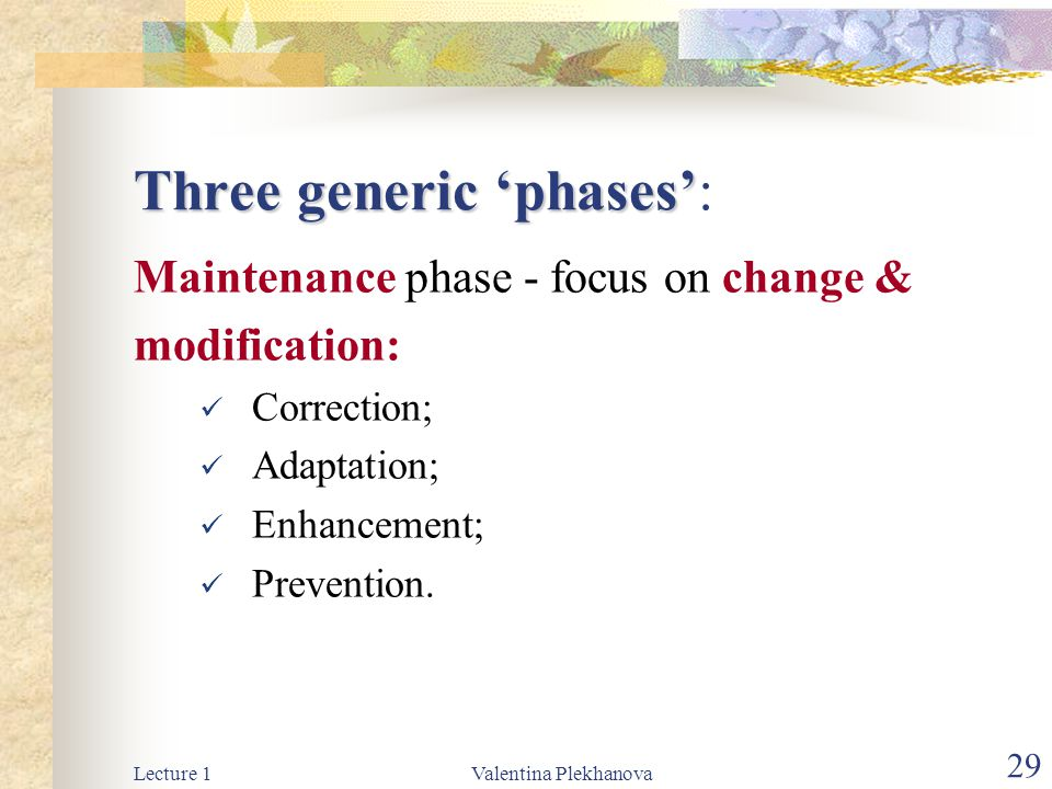 Three generic 'phases':