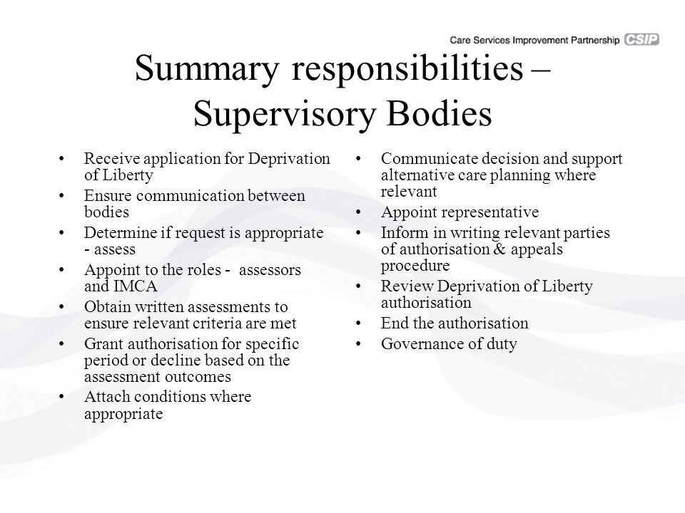 Summary responsibilities – Supervisory Bodies