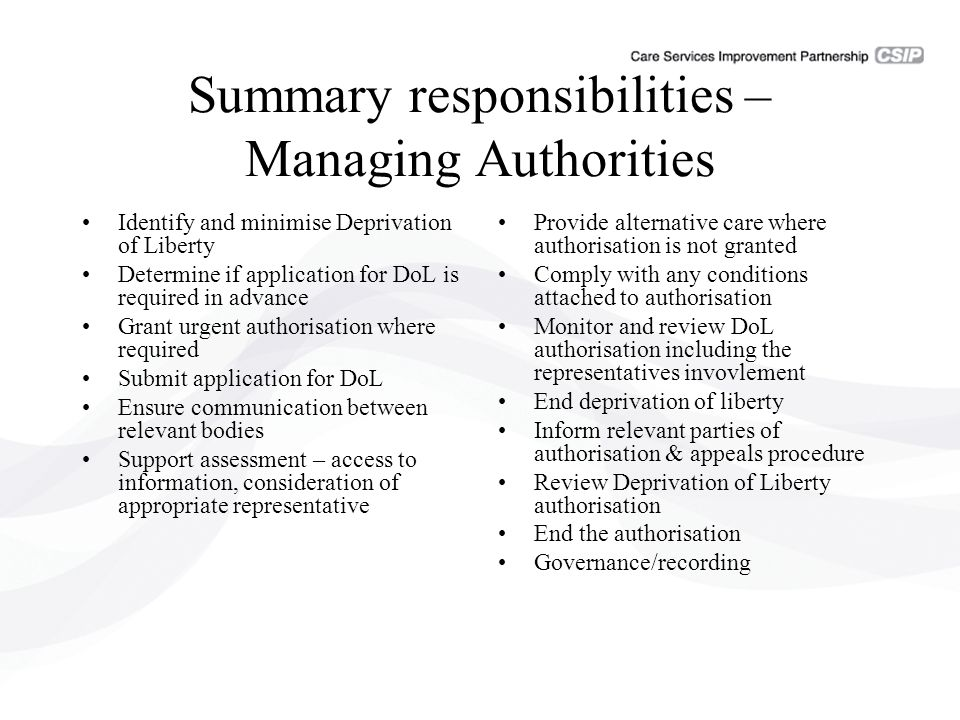 Summary responsibilities – Managing Authorities