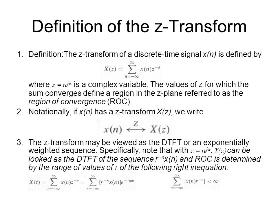 Definition of the z-Transform