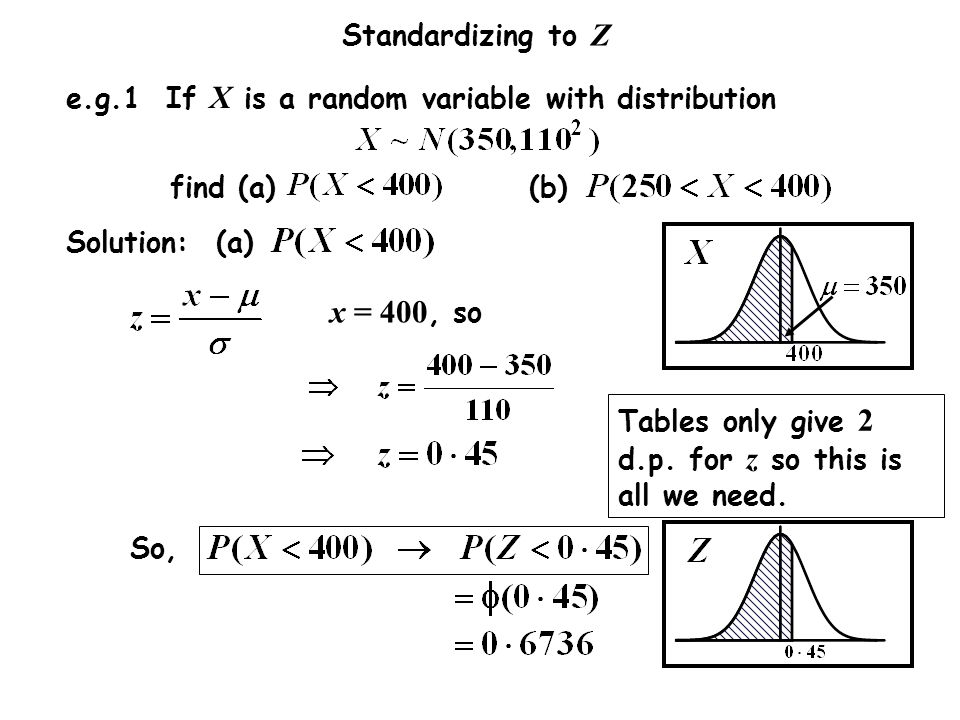 x = 400, so e.g.1 If X is a random variable with distribution