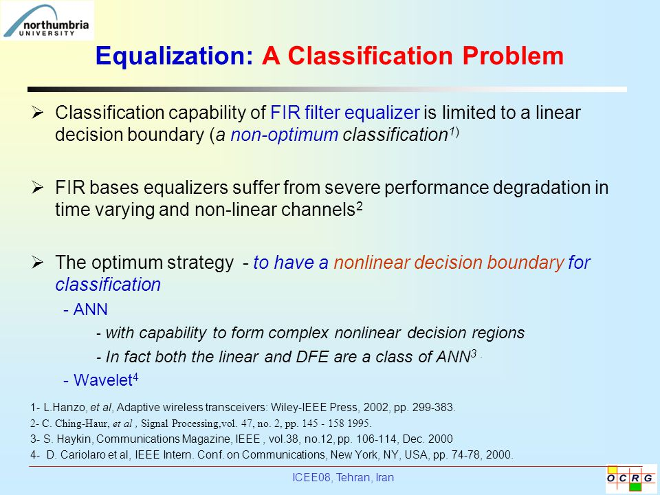 Equalization: A Classification Problem