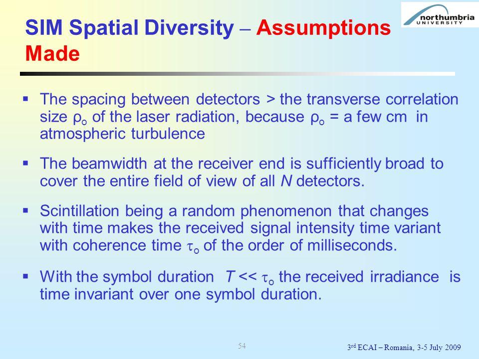 SIM Spatial Diversity – Assumptions Made