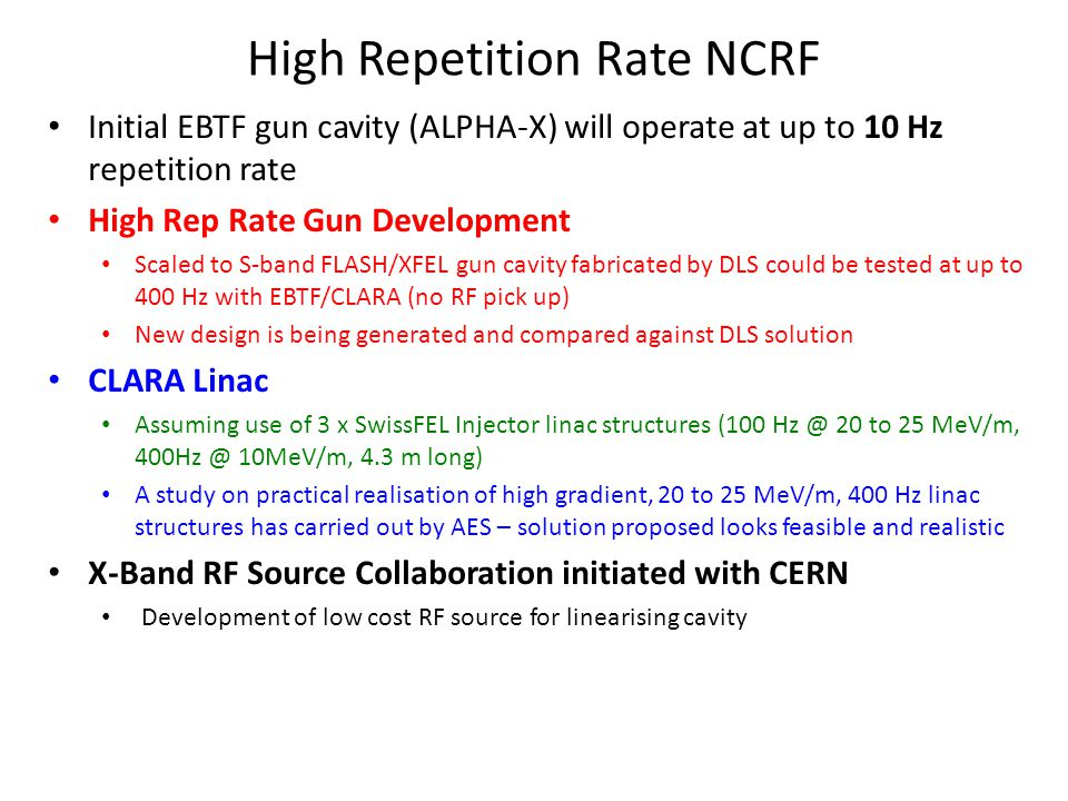 High Repetition Rate NCRF