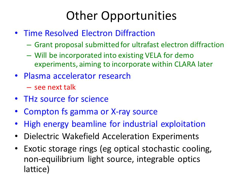 Other Opportunities Time Resolved Electron Diffraction