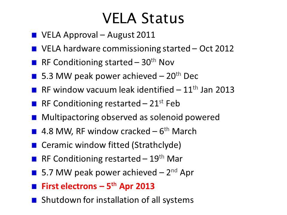 VELA Status VELA Approval – August 2011