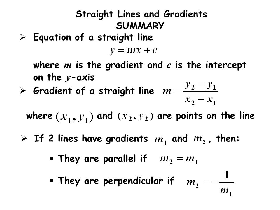 If 2 lines have gradients and , then: