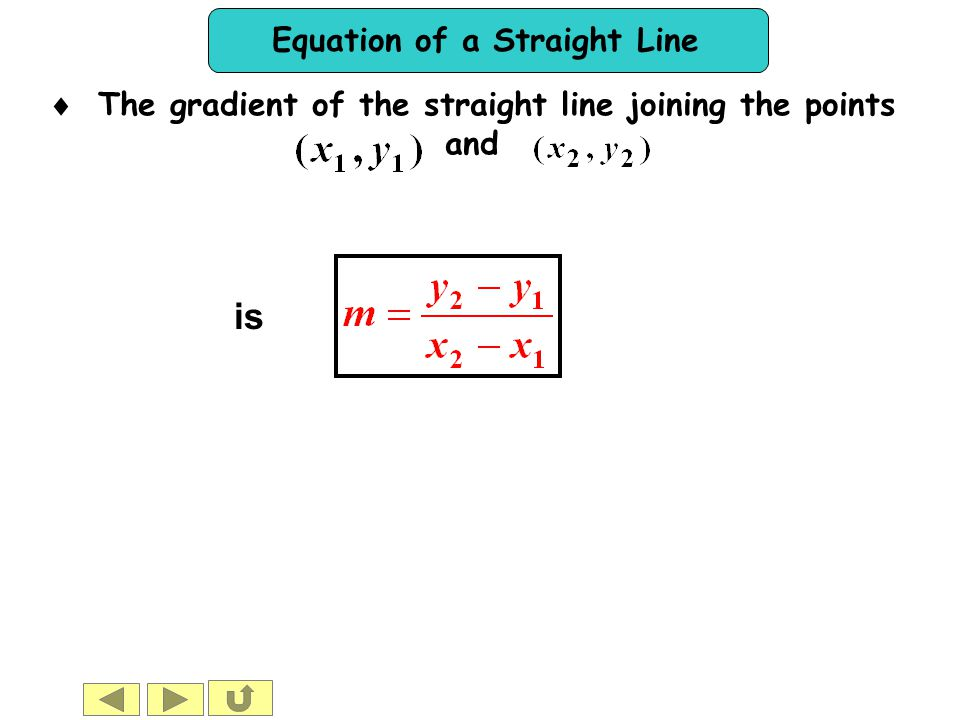 The gradient of the straight line joining the points
