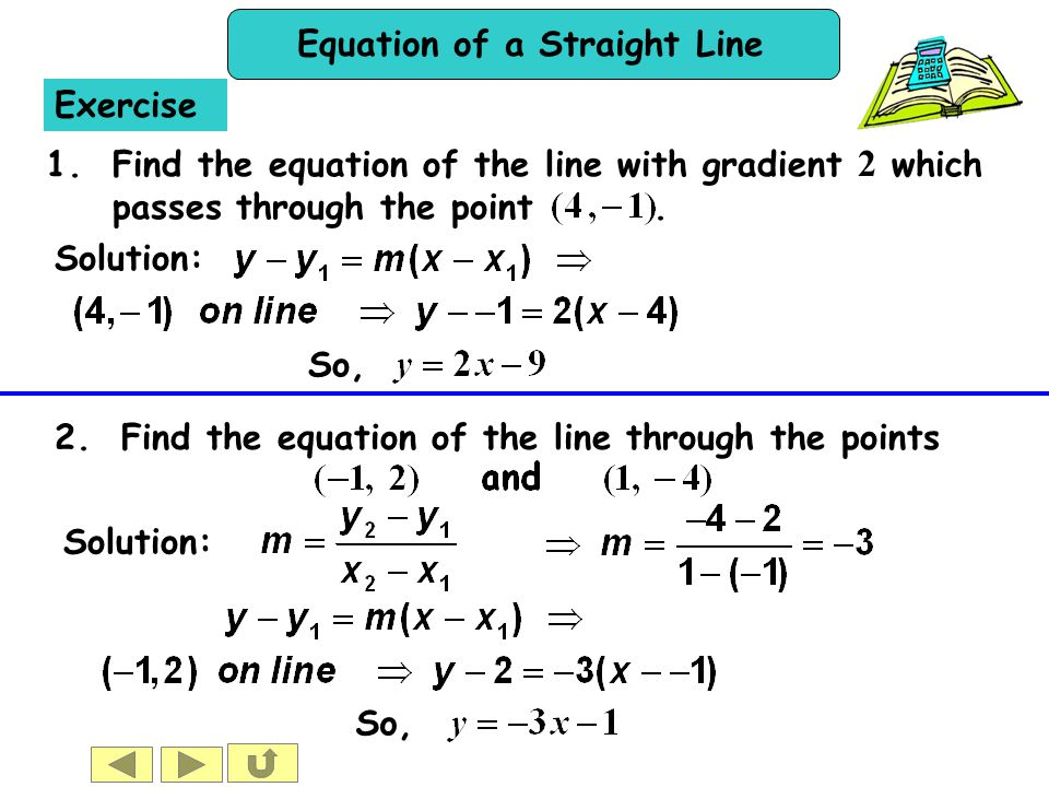 Exercise 1. Find the equation of the line with gradient 2 which passes through the point . Solution: