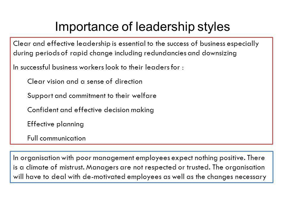 Importance of leadership styles