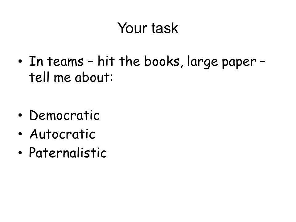 Your task In teams – hit the books, large paper – tell me about: