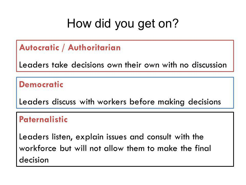 How did you get on Autocratic / Authoritarian